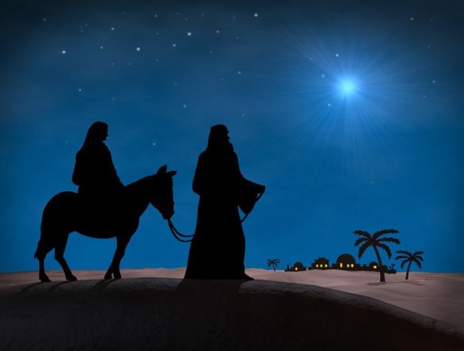 Bethlehem Christmas. Star in night sky above Mary and Joseph